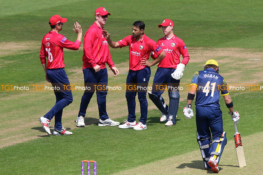 Ravi Bopara of Essex is congratulated by his team mates after taking the wicket of Kiran Carlson during Glamorgan vs Essex Eagles, Royal London One-Day Cup Cricket at the SSE SWALEC Stadium on 7th May 2017