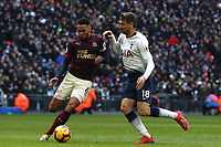 Jamaal Lascelles of Newcastle United and Fernando Llorente of Tottenham Hotspur during Tottenham Hotspur vs Newcastle United, Premier League Football at Wembley Stadium on 2nd February 2019