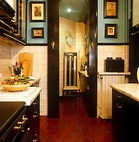 "A Charles Rennie Mackintosh chair in the tiny but glamorous kitchen of a Paris apartmentin which the terracotta tiled floor is perfectly complemented by the sea-green ""Chinese Turquoise"" paint above the dado rail on the walls"