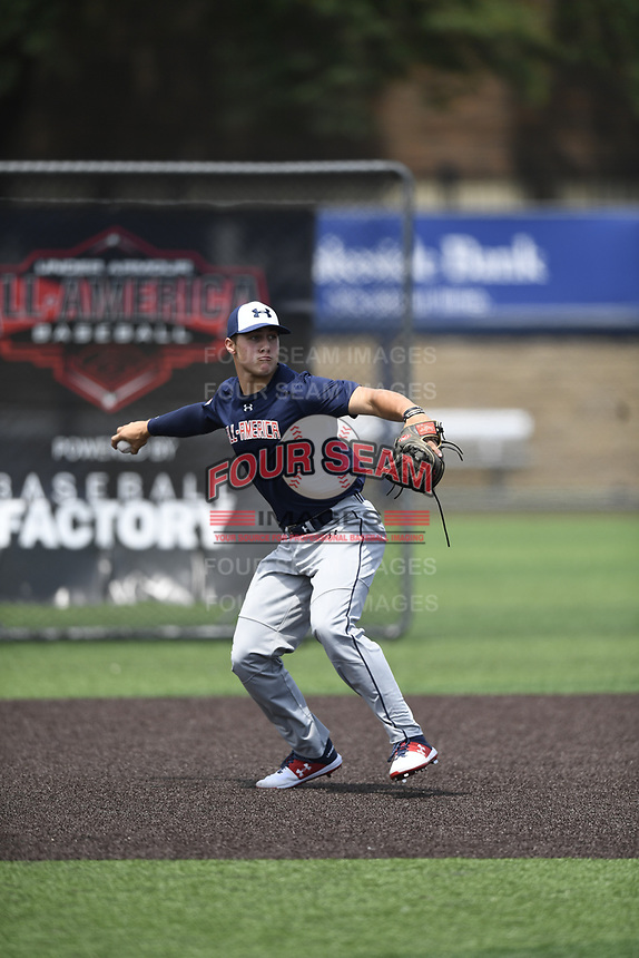 TEMPORARY UNEDITED FILE:  Image may appear lighter/darker than final edit - all images cropped to best fit print size.  <br /> <br /> Under Armour All-American Game presented by Baseball Factory on July 19, 2018 at Les Miller Field at Curtis Granderson Stadium in Chicago, Illinois.  (Mike Janes/Four Seam Images) Tyler Locklear is an infielder from Archbishop Curley High School in Abingdon, Maryland committed to VCU.