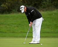 18.10.2014. The London Golf Club, Ash, England. The Volvo World Match Play Golf Championship.  Day 4 quarter final matches.  George Coetzee [RSA] putt on the second hole.