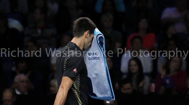 Barclays ATP World Tour Finals 2012  O2 Arena..Novak Djokovic (SRB)  beat Juan Martin Del Potro (ARG) 4:6  6:3  6:2..Taken by Richard Washbrooke