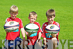 SKILLS: Mikey Bradley,Owen Healy and Tadhg O'Dea (Tralee) showing off some of their skills at the Munster Rugby School of Rugby at Tralee rugby club on Thursday...