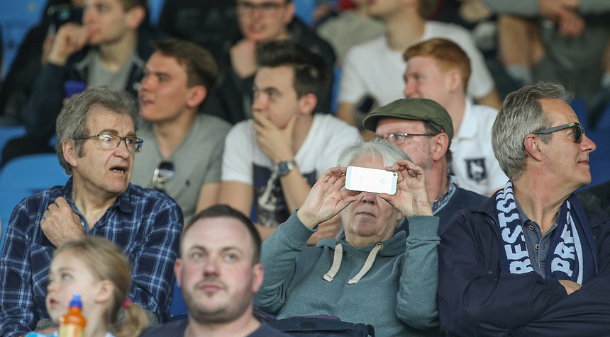Preston North End fans take their seats before the game<br /> <br /> Photographer Alex Dodd/CameraSport<br /> <br /> The EFL Sky Bet Championship - Leeds United v Preston North End - Saturday 8th April 2017 - Elland Road - Leeds<br /> <br /> World Copyright &copy; 2017 CameraSport. All rights reserved. 43 Linden Ave. Countesthorpe. Leicester. England. LE8 5PG - Tel: +44 (0) 116 277 4147 - admin@camerasport.com - www.camerasport.com