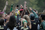 EVANSVILLE, IN - NOVEMBER 18: Members of the Adams State University cross country team get together before the Division II Men's Cross Country Championship held at the Angel Mounds on November 18, 2017 in Evansville, Indiana. (Photo by Tim Broekema/NCAA Photos/NCAA Photos via Getty Images)