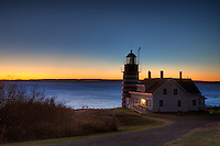 West Quoddy Head Light in Lubec, Maine with Venus rising prior to sunrise
