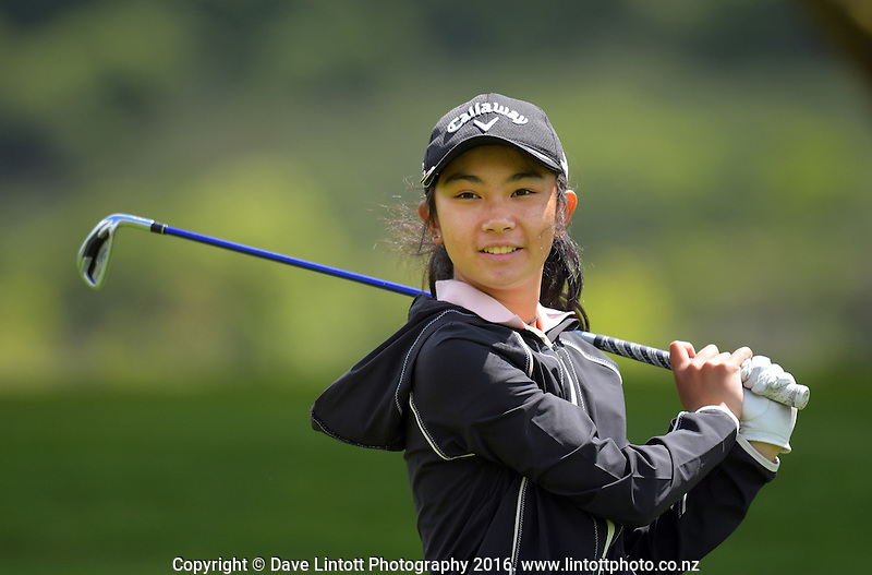 Erika Cui. Cobra Puma New Zealand Amateur Golf Championship Qualifying at the Royal Wellington Golf Course in Silverstream, Wellington, New Zealand on Thursday, 27 October 2016. Photo: Dave Lintott / lintottphoto.co.nz / BWmedia.co.nz
