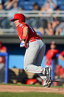 Auburn Doubledays first baseman Jimmy Yezzo #7 during a game against the Batavia Muckdogs on June 18, 2013 at Dwyer Stadium in Batavia, New York.  Batavia defeated Auburn 10-2.  (Mike Janes/Four Seam Images)