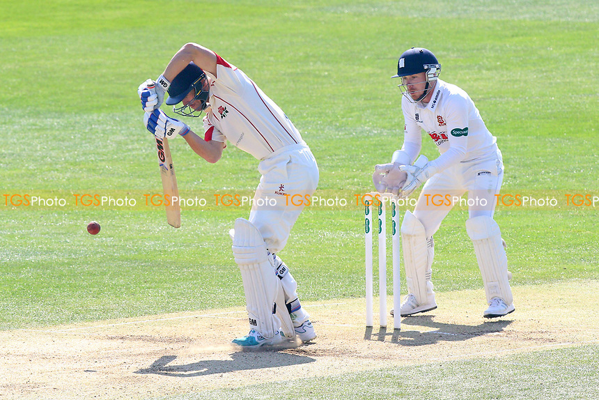 Dane Vilas in batting action for Lancashire as Adam Wheater looks on from behind the stumps during Essex CCC vs Lancashire CCC, Specsavers County Championship Division 1 Cricket at The Cloudfm County Ground on 9th April 2017