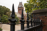 The ornate tower of Sanders Theater (right) and Annenberg Hall (connected, lower at left) is seen at Harvard University in Cambridge, Massachusetts, USA, on Mon., Oct 15, 2018.