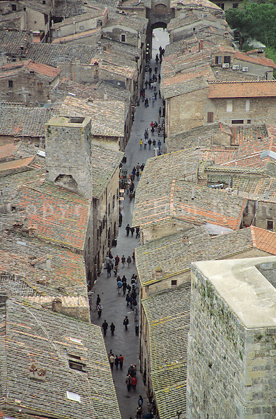 Narrow street in medieval Tuscan town, viewed From high tower at San Gimignano, Tuscany, Italy, AGPix_0206.