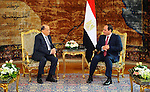 Egyptian President Abdel Fattah al-Sisi meets with Lebanese President Michel Aoun at the Presidential palace in Cairo on February 13, 2017. Aoun started his first visit to Cairo since his election in October and held talks with Sisi and religious leaders. Photo by Egyptian President Office