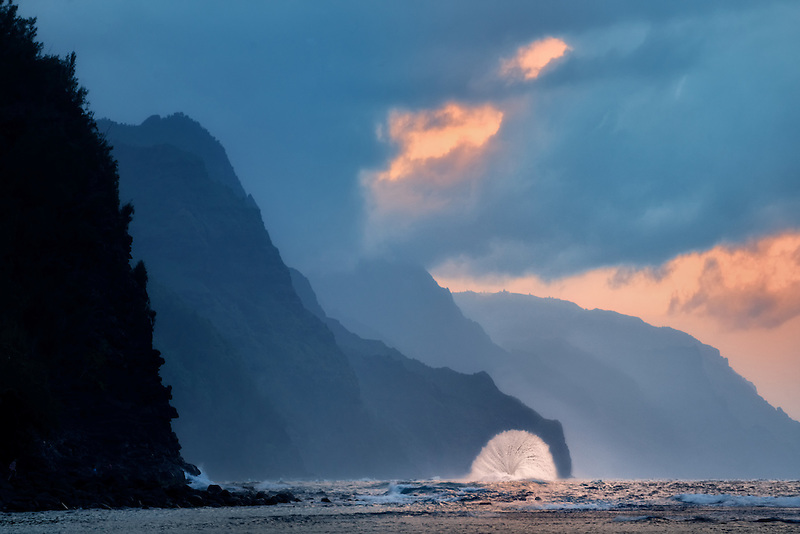 Wave on Napali Coast at sunset from Kea Beach Kauai, Hawaii