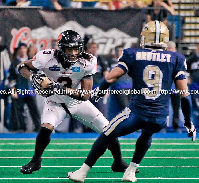 Aug 14, 2010: Orlando Predator wide receiver Bobby Sippio (#3) squares off against Tampa Bay Storm defensive back Daryon Brutley (#9).The Storm defeated the Predators 63-62 to win the division title at the St. Petersburg Times Forum in Tampa, Florida. (Mandatory Credit:  Margaret Bowles)