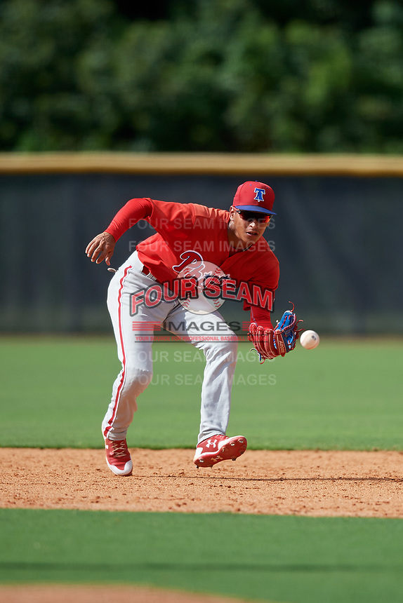 Philadelphia Phillies Christian Valerio (13) fields a ground ball during a Florida Instructional League game against the New York Yankees on October 11, 2018 at Yankee Complex in Tampa, Florida.  (Mike Janes/Four Seam Images)