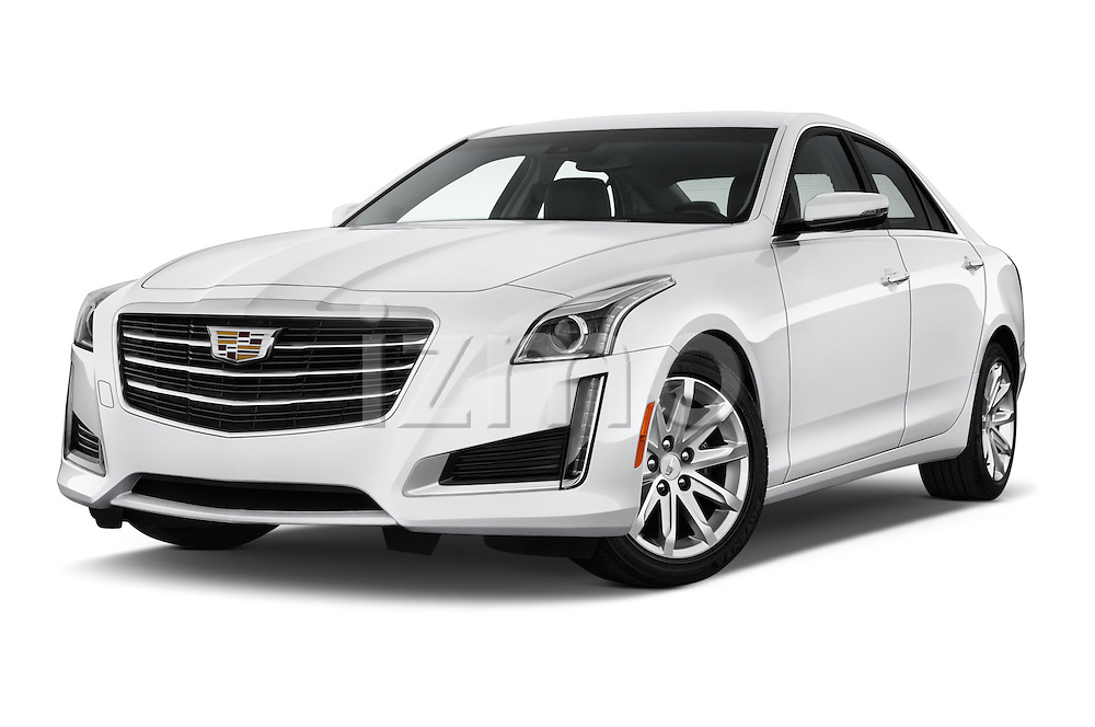 Stock pictures of low aggressive front three quarter view of 2016 Cadillac CTS Luxury Collection 4 Door sedan Low Aggressive