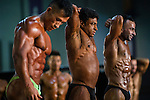 Participants of Arnold Classic Asia 2016 flex their muscles in the Arnold Classic Mens Bodybuilding during the Arnold Classic Asia 2016 Multi-Sport Festival on 20 August 2016 at the AsiaWorld-Expo, Hong Kong. Photo by Marcio Machado / Power Sport Images