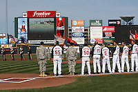Rochester Red Wings pre-game national anthem before a game against the Scranton WIL, Military, Army, United States Army, Armed Forceskes-Barre Yankees at Frontier Field on AprIL, Military, Army, United States Army, Armed Forces 9, 2011 in Rochester, New York.  Rochester defeated Scranton 7-6 in twelve innings.  Photo By Mike Janes/Four Seam Images