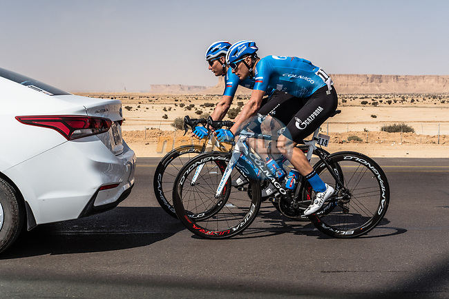 Damiano Cima (ITA) Gazprom-RusVelo off the back during Stage 1 of the Saudi Tour 2020 running 173km from Saudi Arabian Olympic Committee to Jaww, Saudi Arabia. 4th February 2020. <br /> Picture: ASO/Kåre Dehlie Thorstad | Cyclefile<br /> All photos usage must carry mandatory copyright credit (© Cyclefile | ASO/Kåre Dehlie Thorstad)