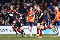 Matt Harrold of Crawley Town (18) celebrates scoring the opening goal against Luton Town during the Sky Bet League 2 match between Luton Town and Crawley Town at Kenilworth Road, Luton, England on 12 March 2016. Photo by David Horn/PRiME Media Images.