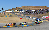 Jun. 21, 2009; Sonoma, CA, USA; NASCAR Sprint Cup Series driver Jeff Burton (31) leads Carl Edwards (99) during the SaveMart 350 at Infineon Raceway. Mandatory Credit: Mark J. Rebilas-