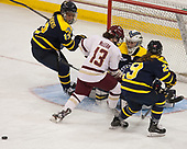 Mikyla Grant-Mentis (Merrimack - 13), Haley McLean (BC - 13), Samantha Ridgewell (Merrimack - 34), Chloe Cook (Merrimack - 29) - The number one seeded Boston College Eagles defeated the eight seeded Merrimack College Warriors 1-0 to sweep their Hockey East quarterfinal series on Friday, February 24, 2017, at Kelley Rink in Conte Forum in Chestnut Hill, Massachusetts.The number one seeded Boston College Eagles defeated the eight seeded Merrimack College Warriors 1-0 to sweep their Hockey East quarterfinal series on Friday, February 24, 2017, at Kelley Rink in Conte Forum in Chestnut Hill, Massachusetts.