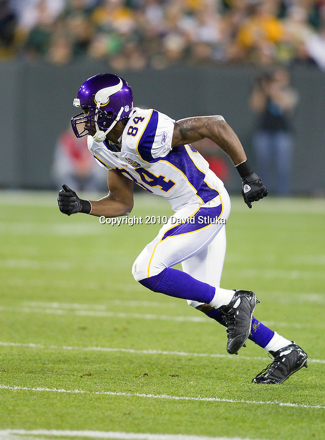 Minnesota Vikings wide receiver Randy Moss (84) runs a pass route during an NFL football game against the Green Bay Packers in Green Bay, Wisconsin on October 24, 2010. The Packers won 28-24. (AP Photo/David Stluka)