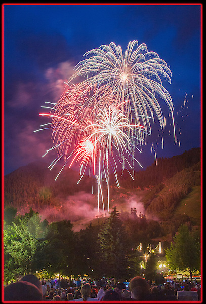 Independence Day fireworks, Aspen, Colorado. John offers fall foliage photo tours throughout Colorado.