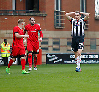 Grimsby Town's Calum Dyson knows he's missed a good chance to score during the Sky Bet League 2 match between Leyton Orient and Grimsby Town at the Matchroom Stadium, London, England on 11 March 2017. Photo by Carlton Myrie / PRiME Media Images.
