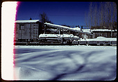 3/4 side-view of snow-covered pile driver #OB.<br /> C&amp;TS  Chama, NM  prior to 2/1978