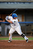 Bluefield Blue Jays designated hitter Alejandro Kirk (5) at bat during the second game of a doubleheader against the Bristol Pirates on July 25, 2018 at Bowen Field in Bluefield, Virginia.  Bristol defeated Bluefield 5-2.  (Mike Janes/Four Seam Images)
