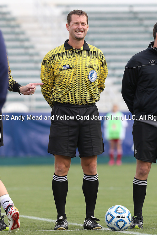 04 November 2012: Referee Tony Baumert. The University of Virginia Cavaliers defeated the University of Maryland Terrapins 4-0 at WakeMed Stadium in Cary, North Carolina in a 2012 NCAA Division I Women's Soccer and Atlantic Coast Conference Tournament Championship game.
