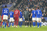 26th December 2019; King Power Stadium, Leicester, Midlands, England; English Premier League Football, Leicester City versus Liverpool; Leicester City Goalkeeper Kasper Schmeichel complains to Referee Michael Oliver after a penalty is awarded in the second half - Strictly Editorial Use Only. No use with unauthorized audio, video, data, fixture lists, club/league logos or 'live' services. Online in-match use limited to 120 images, no video emulation. No use in betting, games or single club/league/player publications