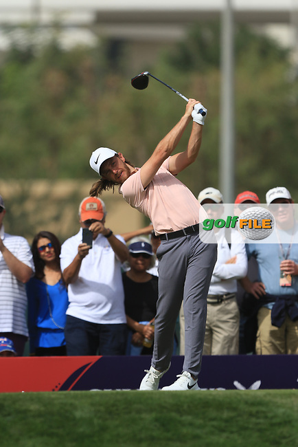 Tommy Fleetwood (ENG) on the 3rd tee during Round 2 of the Omega Dubai Desert Classic, Emirates Golf Club, Dubai,  United Arab Emirates. 25/01/2019<br /> Picture: Golffile | Thos Caffrey<br /> <br /> <br /> All photo usage must carry mandatory copyright credit (&copy; Golffile | Thos Caffrey)