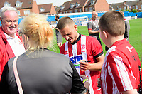 Lincoln City's Jack Payne signs autographs for fans<br /> <br /> Photographer Chris Vaughan/CameraSport<br /> <br /> Football Pre-Season Friendly (Community Festival of Lincolnshire) - Gainsborough Trinity v Lincoln City - Saturday 6th July 2019 - The Martin & Co Arena - Gainsborough<br /> <br /> World Copyright © 2018 CameraSport. All rights reserved. 43 Linden Ave. Countesthorpe. Leicester. England. LE8 5PG - Tel: +44 (0) 116 277 4147 - admin@camerasport.com - www.camerasport.com