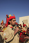 Jordan Valley, Qasr al Yahud. Palestinian band celebrates Theophany by the Jordan River