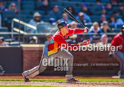 21 April 2013: Washington Nationals infielder Stephen Lombardozzi in action against the New York Mets at Citi Field in Flushing, NY. The Mets shut out the visiting Nationals 2-0, taking the rubber match of their 3-game weekend series. Mandatory Credit: Ed Wolfstein Photo *** RAW (NEF) Image File Available ***