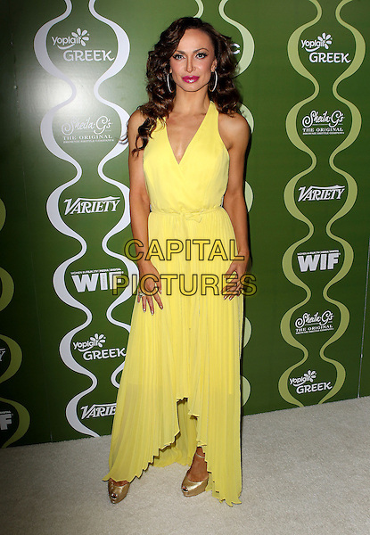 Karina Smirnoff<br /> Variety &amp; Women In Film Pre-Emmy Event presented by Yoplait Greek held at Scarpetta, Beverly Hills, California, USA, <br /> 20th September 2013.<br /> full length yellow long maxi dress <br /> CAP/ADM/KB<br /> &copy;Kevan Brooks/AdMedia/Capital Pictures