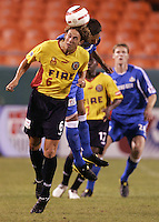 Kelly Gray heads the ball during Kansas City's 1-0 victory over Chicago to win the US Open Cup, at Arrowhead Stadium, in Kansas City, MO, Wednesday, Sept., 22, 2004.