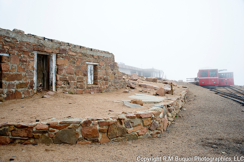 Pike's Peak Cog Railway Train and original Summit House