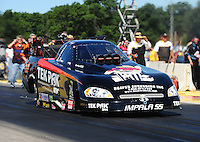 Aug. 21, 2011; Brainerd, MN, USA: NHRA funny car driver Dale Creasy Jr. during the Lucas Oil Nationals at Brainerd International Raceway. Mandatory Credit: Mark J. Rebilas-