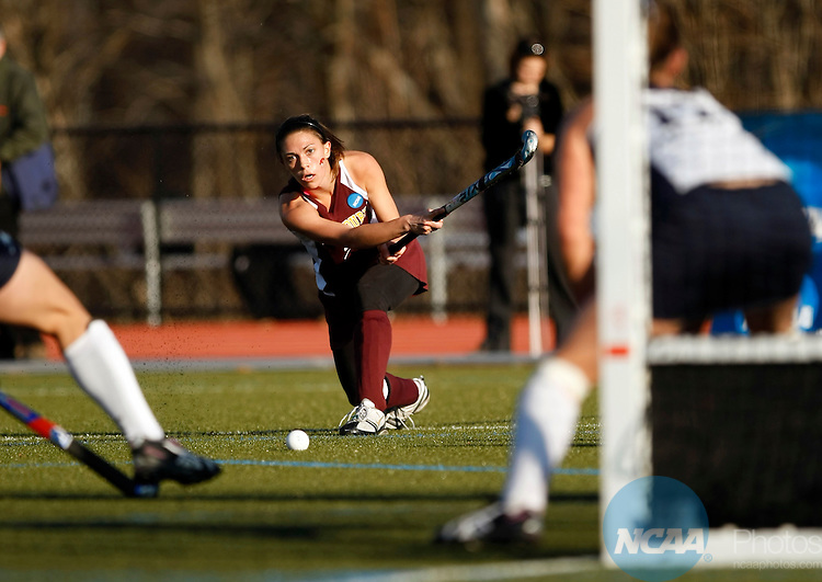 22 NOV 2009:  Lauren Correll (2) of Salisbury University puts a shot on goal against Messiah College during the Division III Women's Field Hockey Championship held at the Turf and Track Complex on the Mount Holyoke College campus in South Hadley, MA.  Salisbury defeated Messiah 1-0 for the national title.  John Risley/NCAA Photos