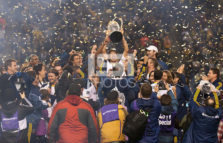 CARSON, CA - November 20, 2011: The LA Galaxy team celebrates their championship after the MLS Cup match between LA Galaxy and Houston Dynamo at the Home Depot Center in Carson, California. Final score LA Galaxy 1, Houston Dynamo 0.