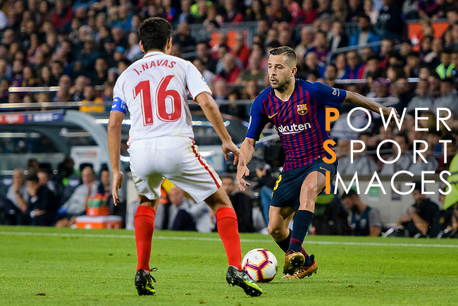 Jordi Alba of FC Barcelona (R) in action against Jesus Navas of Sevilla FC (L) during the La Liga 2018-19 match between FC Barcelona and Sevilla FC at Camp Nou Stadium on October 20 2018 in Barcelona, Spain. Photo by Vicens Gimenez / Power Sport Images