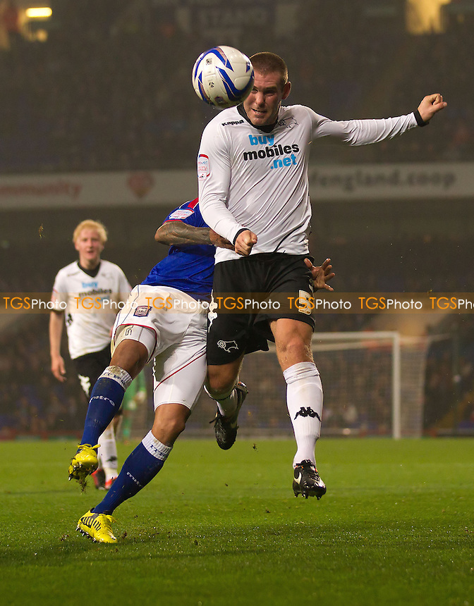 Jake Buxton, Derby County FC gets the better of DJ Campbell, Ipswich Town FC - Ipswich Town vs Derby County - NPower Championship Football at Portman Road, Ipswich, Suffolk - 23/10/12 - MANDATORY CREDIT: Ray Lawrence/TGSPHOTO - Self billing applies where appropriate - 0845 094 6026 - contact@tgsphoto.co.uk - NO UNPAID USE.