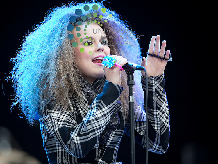 """Tallia Storm supports Elton John at Falkirk Stadium..The Scottish teenager was asked by Elton John to open his Falkirk concert in June after he heard her singing...Sir Elton called 13-year-old Tallia Storm on her mobile after listening to a CD she had given to the star's partner, David Furnish...Soul singer Tallia said it was """"surreal"""" to speak to Sir Elton, who was one of her musical heroes...Picture: Alan Rennie/Universal News and Sport (Scotland)."""