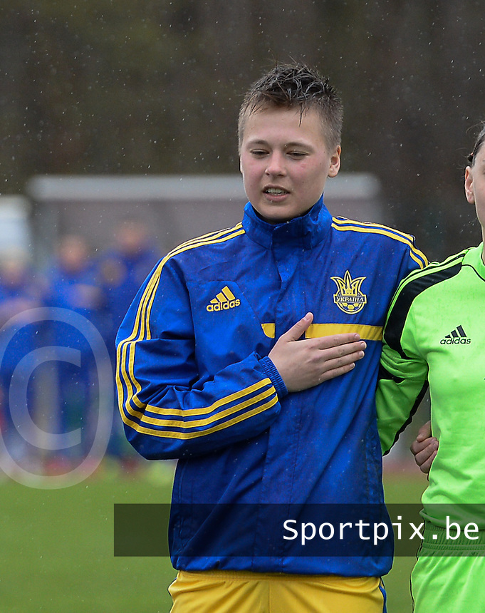 20150404 - FORST , GERMANY  : Ukrainian Tetyana Kozyrenko  pictured during the soccer match between Women Under 19 teams of Belgium and Ukraine , on the first matchday in group 5 of the UEFA Elite Round Women Under 19 at WaldseeStadion , Forst , Germany . Saturday 4th April 2015 . PHOTO DAVID CATRY