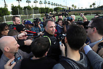 11 January 2017: Head coach Bruce Arena (center) is surrounded by media. The United States Men's National Team held their first training session under new head coach Bruce Arena on The Murphy Family Field at the StubHub Center in Carson, California.