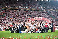 The Sevilla Team with Cup  during the UEFA Final match  between Benfica vs Sevilla, on May 14, 2014. Photo: Adamo Di Loreto/NurPhoto