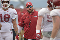 NWA Democrat-Gazette/ANDY SHUPE<br /> Arkansas offensive line coach Dustin Fry directs his players Saturday, March 10, 2018, during practice at the university practice field in Fayetteville. Visit nwadg.com/photos to see more photos from practice.